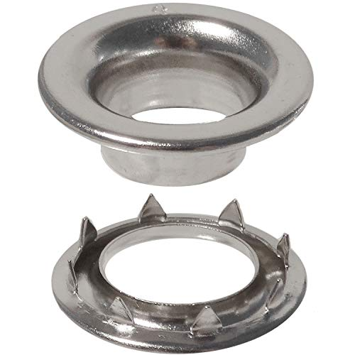 Stimpson E4RRGSWSS100 Stainless Steel Rolled Rim Grommet and Spur Washer 304 Reliable, Durable, Heavy-Duty #4 Set E-Series (100 Pieces of Each)