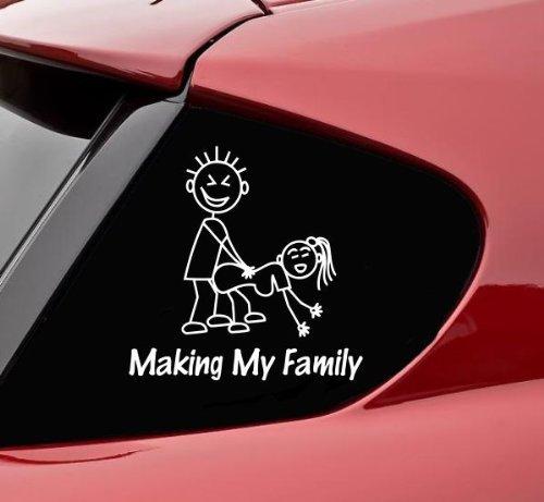 Aufkleber Autoaufkleber JDM Die Hart - Making My Stick Figure Family Funny Auto Laptop Tuning Sticker Decal Heckscheibe LKW Sticker 127mmx127mm