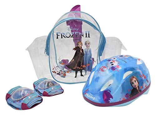 Kinder Fahrrad Schutz-Set Disney Frozen II - Die Eiskönigin 2 | Fahrradhelm Gr. 51-55 cm + Knie- und Ellbogenschützer + Tragetasche im Set