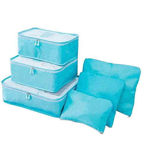 XYDZ Koffer Organizer Set, 6-teilig Gepäck Organizer, Reise Wasserdichte Organizer Tasche für Kleidung Kosmetik - Himmel Blau