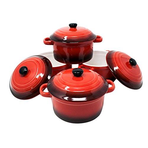 ToCi Lot de 2 mini moules à gratin ronds en céramique avec couvercle Ø 10 x 5 cm, 200 ml, orange, rouge et en lot Lot de 4
