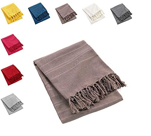 one-home Tagesdecke Bettüberwurf 220x240 cm Sofa Überwurf Bettdecke Doppelbett Baumwolle, Farbe:Taupe/Braun