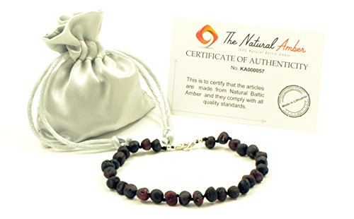 Genuine Raw Baltic Amber Adult Anklet , Adjustable 7.5~9.5inches (19-24cm) (Raw Cherry)