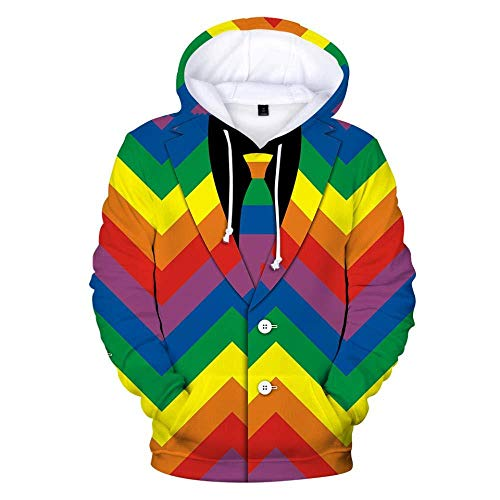 yyqx container Hooded Casual 3D Printing Hoodies Creatieve Pak Regenboog Wave Lange Mouwen Ademende Unisex Sweatshirts Verstelbare Trekkoord Truien met Kangoeroe Pocket