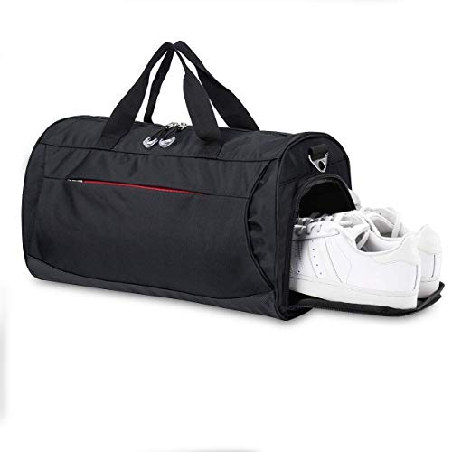 Eocean Dry Wet Depart Duffle Bag Sports Gym Bag with Shoes Compartment, Waterproof Gym Sports Bag for Men and Women (Black)