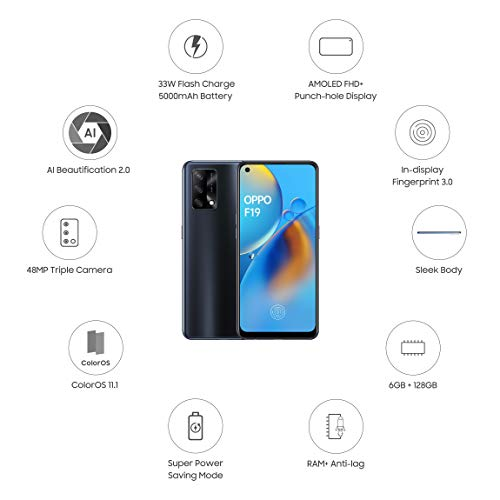 Oppo F19 (Prism Black, 6GB RAM, 128GB Storage) with Free 12 Months Damage Protection