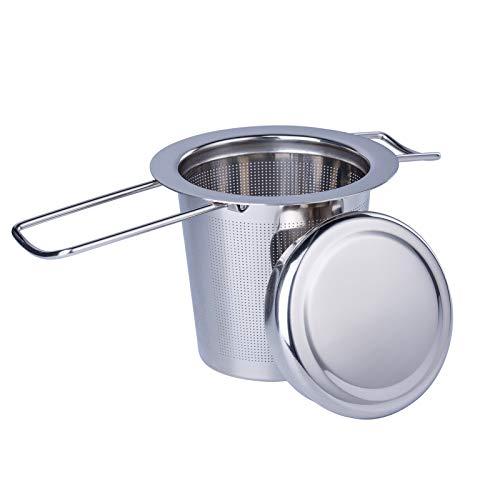 QTTO Teesieb, Teefilter mit Deckel Abtropfschale, 304 Edelstahl Tee Sieb für losen Tee,Premium Teesieben, Faltbare Griffgestaltung Passend für die Meisten Teekannen, Tee-Tassen und Tee-Schalen