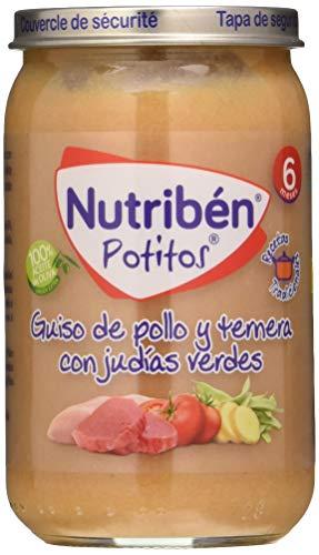 Nutribén Potitos de Guiso de Pollo y Ternera con Judías Verdes, Desde Los 6 Meses, 235g