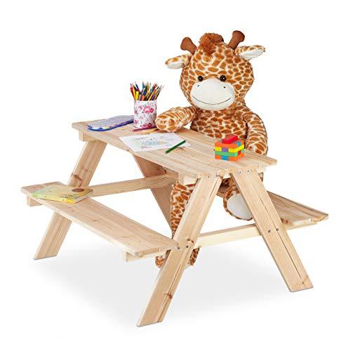 Relaxdays Kindersitzgruppe Holz, Picknicktisch für den Garten, Outdoor Gartenmöbel Kinder, HxBxT: 50 x 90 x 78 cm, Natur