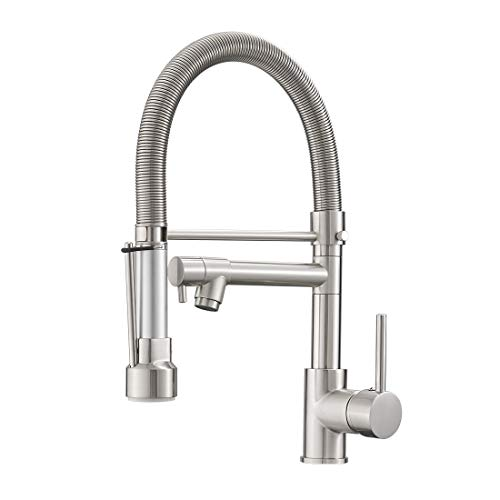 Fapully Pull Down Kitchen Faucet with Lock Sprayer,Single Handle Spring Stainless Steel Kitchen Sink Faucet Brushed Nickel