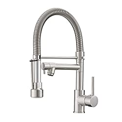 Fapully Pull Down Kitchen Faucet With Lock Sprayer Single Handle Spring Stainless Steel Kitchen Sink Faucet Brushed Nickel Amazon Com