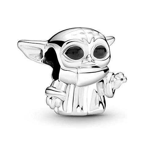 Annmors Star Wars Yoda Charm Black Enamel Charm for Woman-925 Sterling Silver Dangle Pendant,Jewelry Gifts for Women Bracelet&Necklace