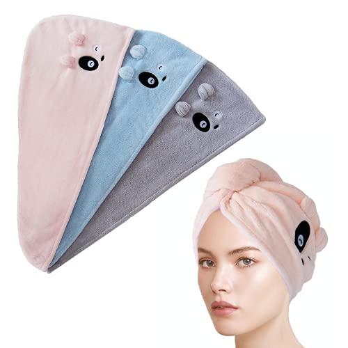 ARNOTEKS Turban Handtuch Set,mikrofaser Handtuch Haare.haarhandtuch mit knopf,Super süß, geeignet für den Eigengebrauch und zum Verschenken.(3pcs/Blau Grau Rosa)