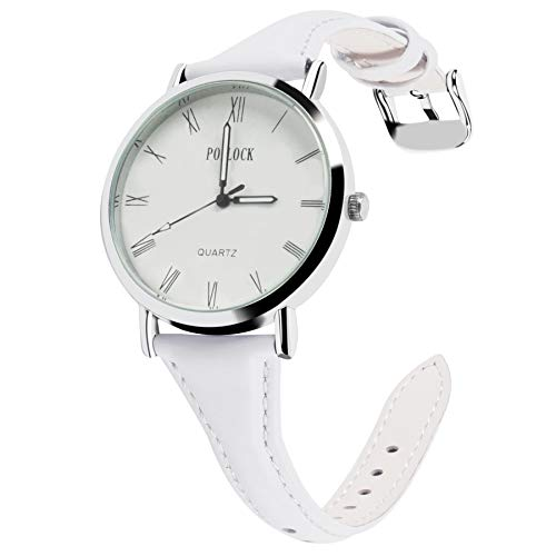 Fullmosa 5 Farben Uhrenarmband, Schmal Lederarmband Armbanduhr mit Edelstahl Schnallen für Herren Damen 20mm