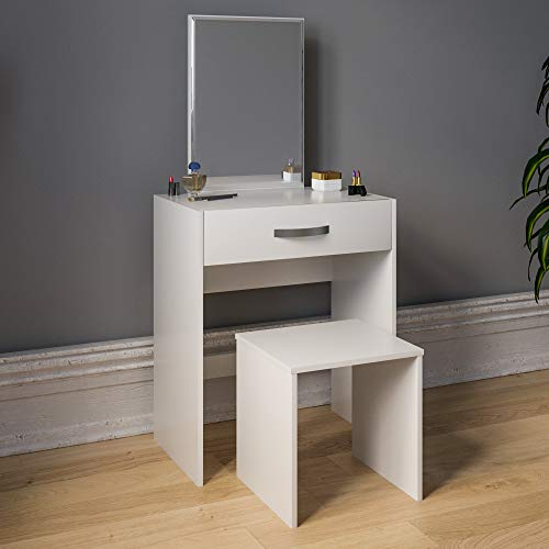 Vida Designs Toaletka Isla 1 szuflada lustro i taboret zestaw do sypialni makijaż kosmetyki toaletka biurko kredens meble białe, 130 x 63,5 x 39 cm