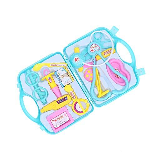 Kit de doctor para niños con estetoscopio de sonido de latido cardíaco, equipo de juego médico en funda de transporte para niños (rosa) LTLNB (color: verde)
