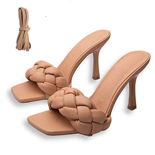 Verano de las Mujeres de la Tejido del Dedo Cuadrado Sandalias de Moda Tacones de las Mujeres de las diapositivas Zapatos de Cuero de la PU