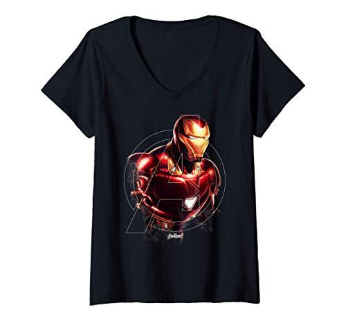 Donna Marvel Avengers Endgame Iron Man Portrait Maglietta con Collo a V