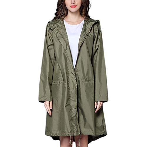 Women's Long Rain Jacket Lightweight Hooded Outdoor Waterproof Warm Breathable Windproof Coat Outwear Jacket (Army Green, L)