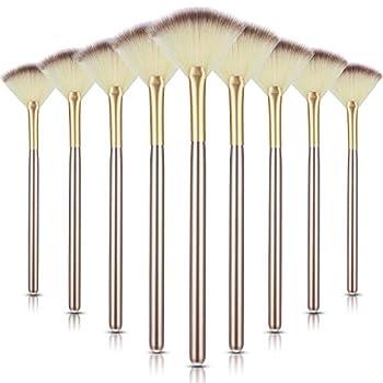 9 Pieces Soft Facial Makeup Brush Facial Powder Cosmetics Brushes Wooden Handle and Soft Fiber Face Fan Shape Brushes Makeup Brushes Cosmetic Tool for Face Highlighting Makeup Powder
