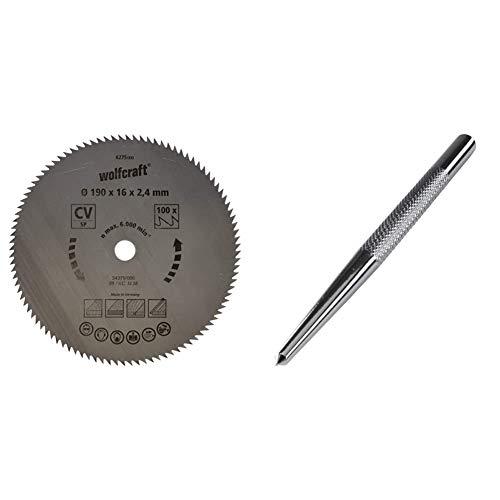 Wolfcraft 6275000 Disco de sierra circular CV, 100 dient., serie azul Ø 190 x 16 x 2,4 mm + 7980010 punzón Cromado, para marcar el Punto de Taladro Pack 1, plata, 8 x 125 mm