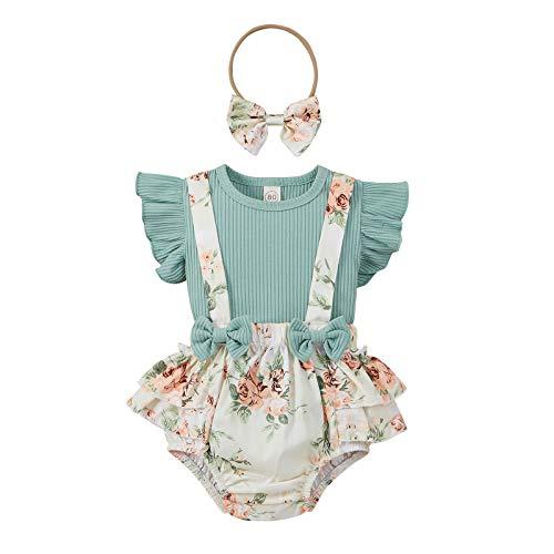 Conjunto de verano para bebé, 0 – 18 meses, 3 piezas, camiseta de manga a volante, pantalones cortos con tirantes, estampado floral, lazos y cinta para el pelo Verde 12-18 Meses