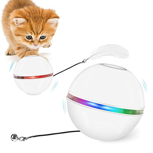 FYNIGO gioco per gatti da interno,giocattolo elettrico interattivo con campanelli e piume, rotazione automatica di 360°e ricarica USB,2 modalità di illuminazione e funzione di spegnimento automatico