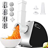 Electric Slicer&Electric Meat Grinder Combos, 9-IN-1 Food Grinder with 4 Stainless Steel Slicer Blades for Vegetable, 3 Grinding Plates, Sausage Stuffer Attachment for Meat, 2000W