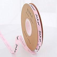 """DDDCM 10mm""""handgemaakte"""" gedrukt polyester lint met letter gedrukt lint for gift verpakking (Kleur : Just 10mm light pink,..."""