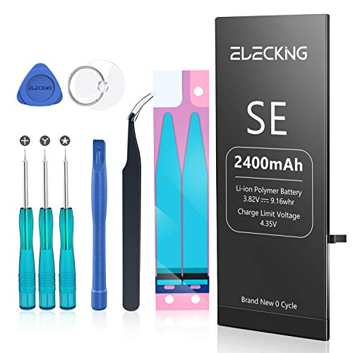 ELECKING 2400mAh Battery Replacement Compatible with iPhone SE, High Capacity Replacement Battery (for IPSE Only) with Professional Repair Tool Kits, Adhesive Strips and Instruction