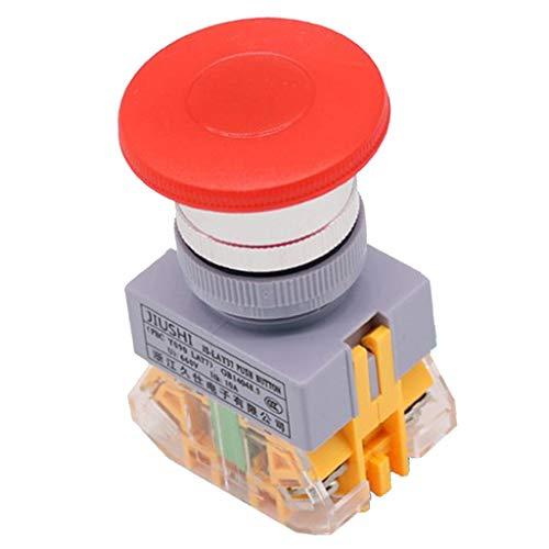 H HILABEE Hochleistung Not-Aus Schalter, 600V 10A Druckschalter mit Flammhemmendem Gehäuse, Rot
