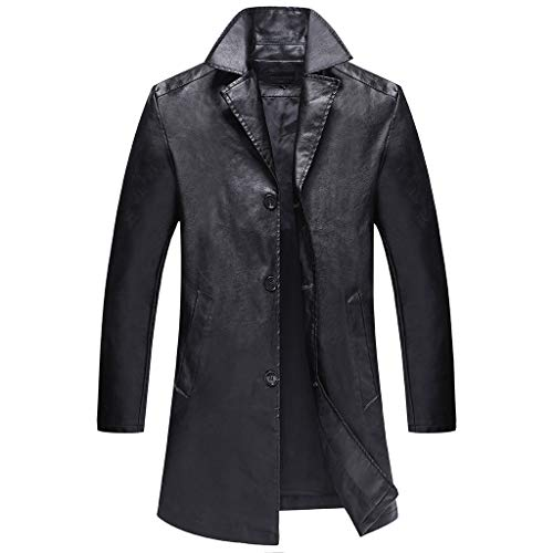 Fannyfuny Herren Lang Leder Parka Übergangsjacke Mantel Outwear Outdoor Wolljacke Windbreaker Trenchcoat Überzieher Coat Männer Casual...