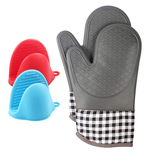Heat Resistant 500°F Oven Mitt, Set of 2,Comes with a Glove Clip This Thickening Silicone Glove Has a Soft Cotton Lining with a Non-Slip Surface can be Used Safely Oven Baked and Barbecue(Gray)