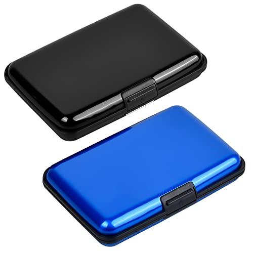 2 Piezas Negro y Azul Porta para Tarjetas de Visita de Aluminio, Tarjetero Portátil, Titulares de Tarjetas de Crédito, Estuche para Tarjetas de Visita Negocios Tarjeta de Crédito Tarjeta de Identidad