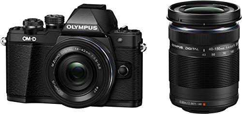 Olympus OM-D E-M10 Mark II Kit, Fotocamera Micro Quattro Terzi (16 MP, Stabilizzatore d'Immagine a 5 Assi, Mirino Elettronico) e Obiettivo M.Zuiko 14-42mm EZ Zoom + M.Zuiko 40-150mm Telezoom, Nero