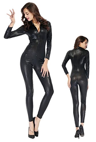 HAIYUANNAN Frauen Shiny Catsuit Snakeskin Muster Unitard Kunstleder -Overall-Cosplay-Dame-Mädchen-Abendkleid Overall Sexy Party Clubwear, M