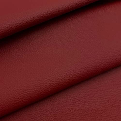 Kt KILOtela Tela de Polipiel para tapizar, Cojines, sillas, Asientos, Muebles - Tapicería skay - Retal de 50 cm Largo x 140 cm Ancho | Rojo granatoso
