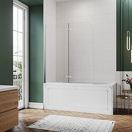 SIRHONA Mampara Bañera Plegable 120x140 cm,Panel de 2 Puertas Abatible,NANO Easy-clean Vidrio Templado de Seguridad de 6mm,Pantalla para Bañera Giratoria
