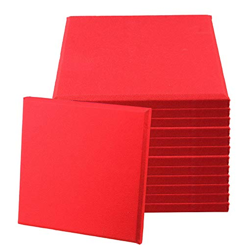 BQLZR 30x30x2.5cm Red Fiberglass Acoustic Home Studio Soundproof Panel Tiles Pack of 12