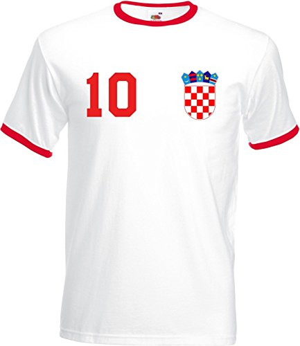 Kroatien Croatia Hrvatska Herren T-Shirt Beidseitig Bedruckt mit Wunschname & Zahl, Weiß, Gr. S
