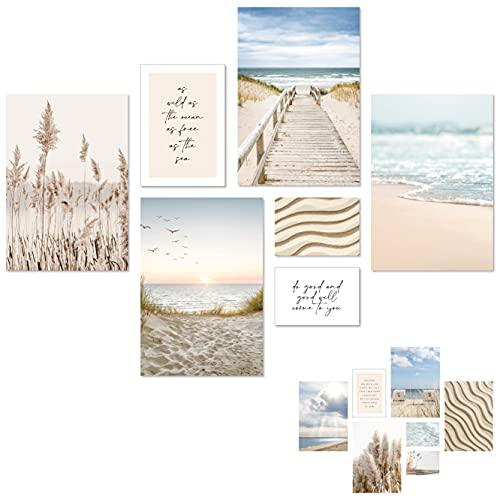 Bilder Set - 7 Poster - Natur, Meer, Pampasgras, Strand