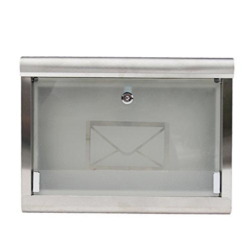RENJUN Mailbox European Villa Regenfeste Wand Briefkasten 304 Edelstahl Briefkasten Glas Briefkasten Outdoor Fashion Briefkasten