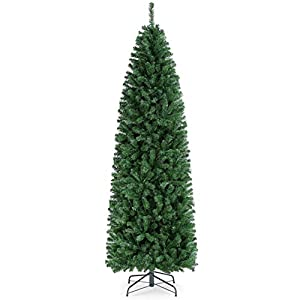 YAHEETECH 7.5ft Unlit Artificial Kingswood Fir Pencil Slim Skinny Corner Hinged Christmas Tree with 1086 Branch Tips and Foldable Stand, Xmas Tree for Holiday Decoration