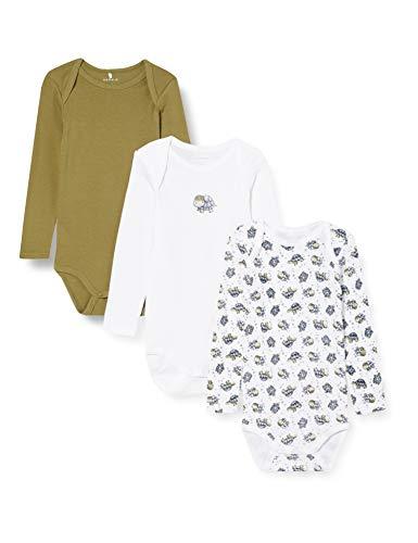 NAME IT Nbmbody 3p LS Turtle Noos Conjunto de Ropa Interior para bebés y niños pequeños, Loden Green, 50 (Pack de 3)
