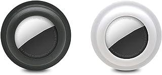TeTeBak 自己粘着性シリコンAirTagケース-2 PCS 軽量スティッキーケーススティック、リモート、Apple AirTag2021と互換性のある電子デバイス (Black & White)