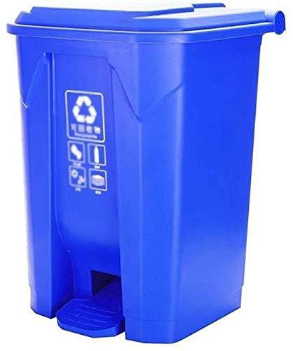 Yxsd Cubo de basura escalado para exteriores con tapa, tipo de contenedor de basura para calle, contenedor de cocina, tamaño 42,5 x 39,5 x 60 cm, conveniente (color: azul, tamaño: 50 L)