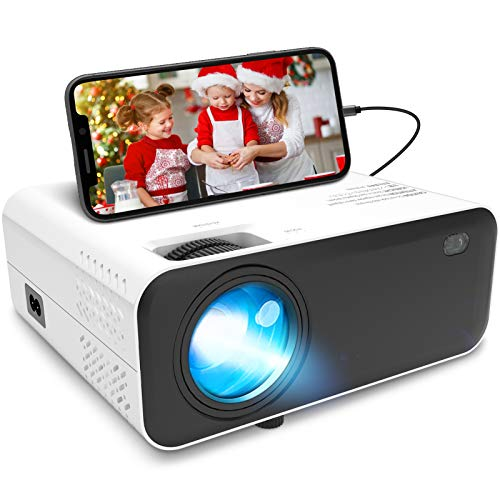 "Mini Projector,Waygoal Portable Projector Supported 1080P Outdoor Movie Projector with 60000 Hours LED Lamp Life,200"" Big Screen Display Compatible with HDMI,VGA,USB,AV,Laptop,Smartphone"