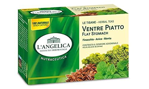 L'Angelica, Tisana Funzionale Ventre Piatto a Base di Finocchio, Anice Stellato e Menta, Tisane contro il Gonfiore Addominale, Vegan, 10 Confezioni da 20 Filtri Ciascuna
