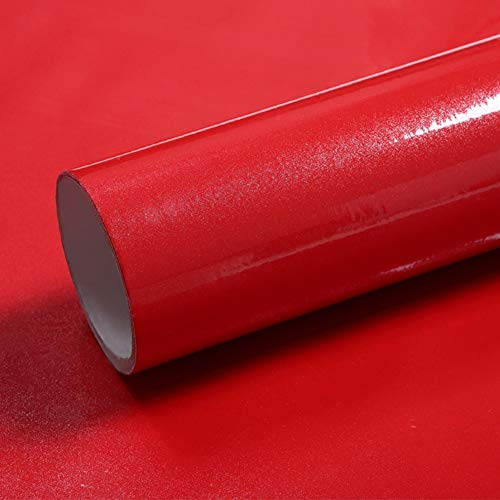 LaCheery Red Contact Paper Decorative Self Adhesive Glitter Wallpaper Stick and Peel Red Cabinet Contact Paper Removable Wallpaper for Girls Room Dresser Countertops Cabinets Drawer Liners 12'x160'