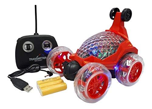 Carrinho Maluco Controle Total Crazy Bateria Recarregável Gira 360 Com Luz e Som